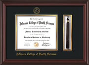 Image of Jefferson College of Health Sciences Diploma Frame - Mahogany Lacquer - w/JCHS Embossed Seal & Name - Tassel Holder - Black on Gold mat