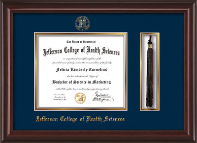 Image of Jefferson College of Health Sciences Diploma Frame - Mahogany Lacquer - w/JCHS Embossed Seal & Name - Tassel Holder - Navy on Gold mat