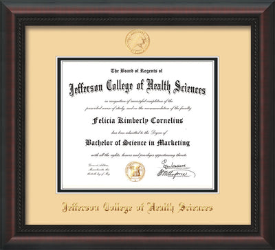 Image of Jefferson College of Health Sciences Diploma Frame - Mahogany Braid - w/JCHS Embossed Seal & Name - Cream on Black mat