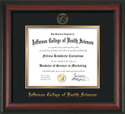 Image of Jefferson College of Health Sciences Diploma Frame - Rosewood - w/JCHS Embossed Seal & Name - Black on Gold mat
