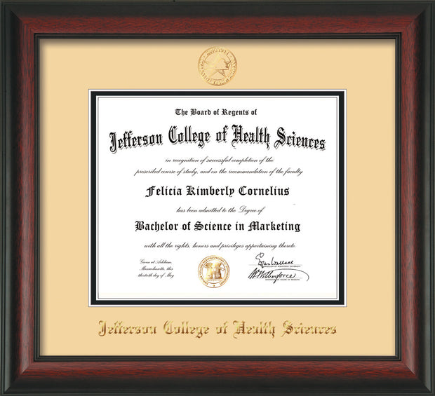 Image of Jefferson College of Health Sciences Diploma Frame - Rosewood - w/JCHS Embossed Seal & Name - Cream on Black mat