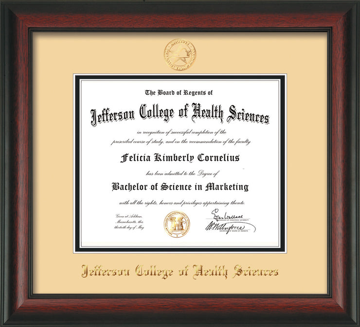 Jefferson College Of Health Sciences Diploma Frame Rosewood Seal Cream On Black Official Diploma Frames