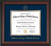 Image of Jefferson College of Health Sciences Diploma Frame - Rosewood - w/JCHS Embossed Seal & Name - Navy on Gold mat