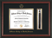 Image of Jefferson College of Health Sciences Diploma Frame - Rosewood - w/JCHS Embossed Seal & Name - Tassel Holder - Black on Gold mat