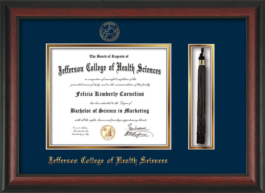 Jefferson College Of Health Sciences Diploma Frame Rosewood Tassel Navy On Gold Official Diploma Frames