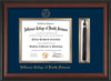 Image of Jefferson College of Health Sciences Diploma Frame - Rosewood - w/JCHS Embossed Seal & Name - Tassel Holder - Navy on Gold mat