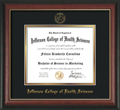Image of Jefferson College of Health Sciences Diploma Frame - Rosewood w/Gold Lip - w/JCHS Embossed Seal & Name - Black on Gold mat
