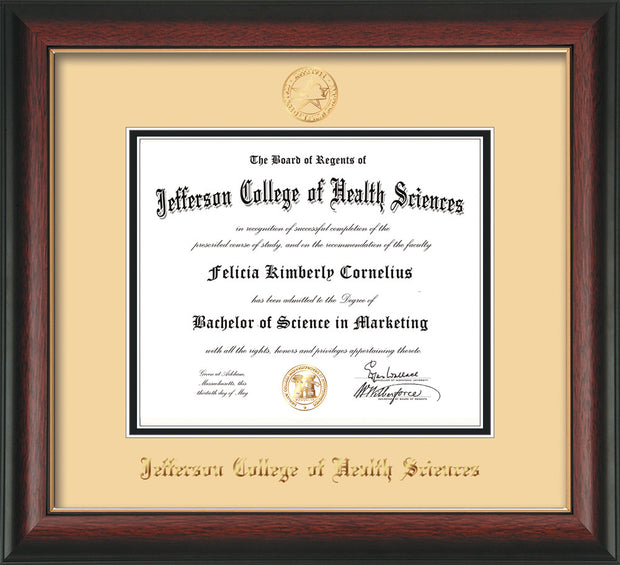 Image of Jefferson College of Health Sciences Diploma Frame - Rosewood w/Gold Lip - w/JCHS Embossed Seal & Name - Cream on Black mat