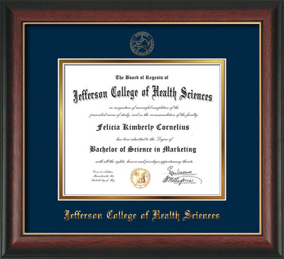 Image of Jefferson College of Health Sciences Diploma Frame - Rosewood w/Gold Lip - w/JCHS Embossed Seal & Name - Navy on Gold mat