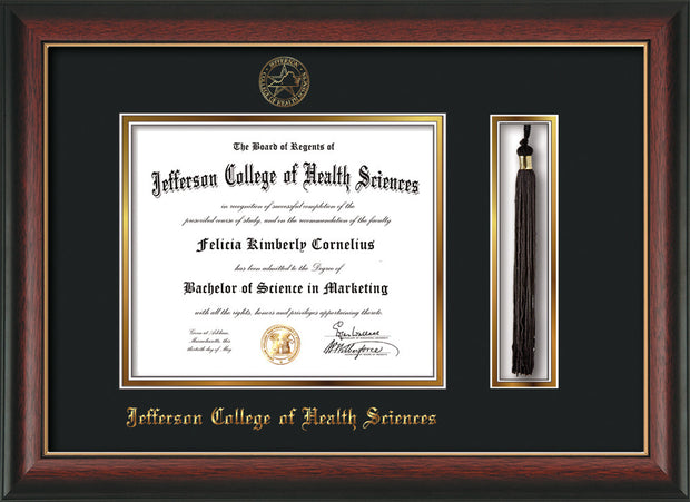 Image of Jefferson College of Health Sciences Diploma Frame - Rosewood w/Gold Lip - w/JCHS Embossed Seal & Name - Tassel Holder - Black on Gold mat