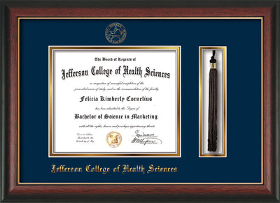 Image of Jefferson College of Health Sciences Diploma Frame - Rosewood w/Gold Lip - w/JCHS Embossed Seal & Name - Tassel Holder - Navy on Gold mat