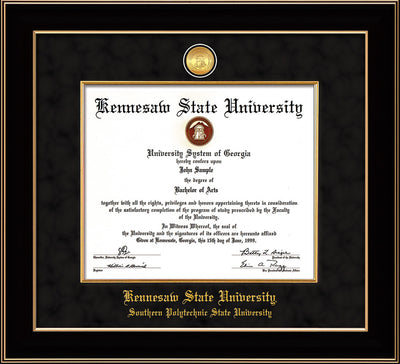 Image of Kennesaw State University Diploma Frame - Southern Polytechnic State University - Black Lacquer - w/KSU Gold Medallion & Fillet - w/SPSU Name - Black Suede mat