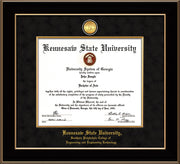 Image of Kennesaw State University Diploma Frame - Southern Polytechnic College Engineering - Black Lacquer - w/KSU Gold Medallion & Fillet - w/SPC Engineering Name - Black Suede mat