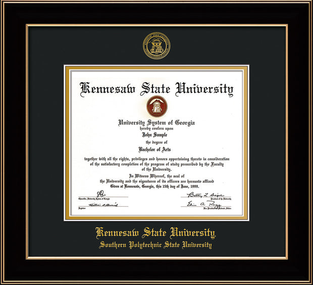 Image of Kennesaw State University Diploma Frame - Southern Polytechnic State Univeristy - Black Lacquer- with KSU Seal - and SPSU Name - Black on Gold mat