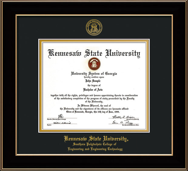 Image of Kennesaw State University Diploma Frame - Southern Polytechnic College of Engineering - Black Lacquer- with KSU Seal - and SPC Engineering Name - Black on Gold mat