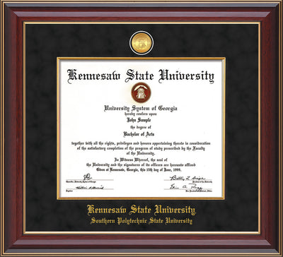 Image of Kennesaw State University Diploma Frame - Southern Polytechnic State University - Cherry Lacquer - w/KSU Gold Medallion & Fillet - w/SPSU Name - Black Suede mat