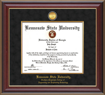 Image of Kennesaw State University Diploma Frame - Southern Polytechnic College Engineering - Cherry Lacquer - w/KSU Gold Medallion & Fillet - w/SPC Engineering Name - Black Suede mat