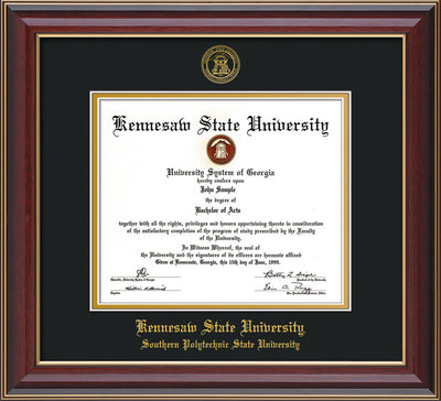 Image of Kennesaw State University Diploma Frame - Southern Polytechnic State Univeristy - Cherry Lacquer- with KSU Seal - and SPSU Name - Black on Gold mat
