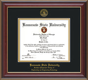 This is a Kennesaw State University Diploma Frame - Southern Polytechnic College of Engineering - Cherry Lacquer- with KSU Seal - and SPC Engineering Name - Black on Gold mat