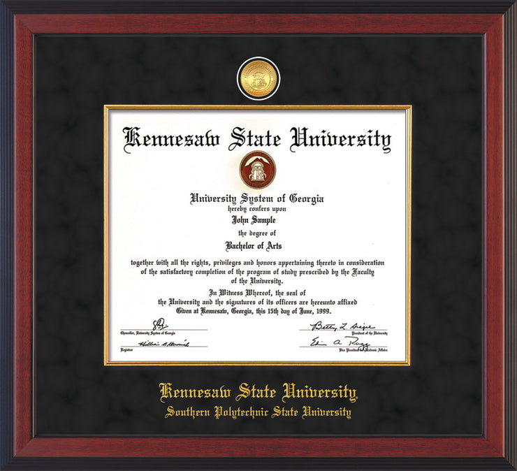 Image of Kennesaw State University Diploma Frame - Southern Polytechnic State University - Cherry Reverse - w/KSU Gold Medallion & Fillet - w/SPSU Name - Black Suede mat