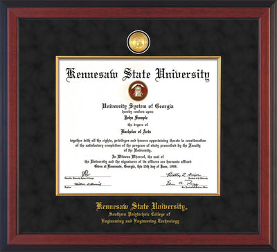 Image of Kennesaw State University Diploma Frame - Southern Polytechnic College Engineering - Cherry Reverse - w/KSU Gold Medallion & Fillet - w/SPC Engineering Name - Black Suede mat