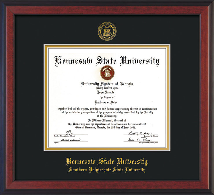 Image of Kennesaw State University Diploma Frame - Southern Polytechnic State Univeristy - Cherry Reverse - with KSU Seal - and SPSU Name - Black on Gold mat