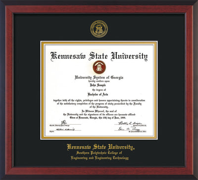 Image of Kennesaw State University Diploma Frame - Southern Polytechnic College of Engineering - Cherry Reverse - with KSU Seal - and SPC Engineering Name - Black on Gold mat