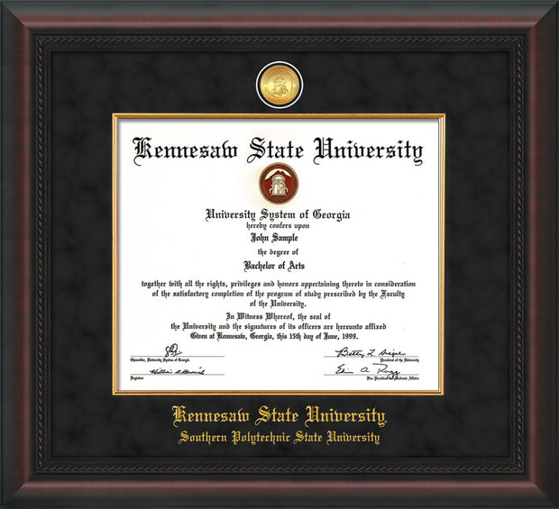 Image of Kennesaw State University Diploma Frame - Southern Polytechnic State University - Mahogany Braid - w/KSU Gold Medallion & Fillet - w/SPSU Name - Black Suede mat
