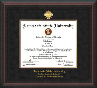 Image of Kennesaw State University Diploma Frame - Southern Polytechnic College Engineering - Mahogany Braid - w/KSU Gold Medallion & Fillet - w/SPC Engineering Name - Black Suede mat