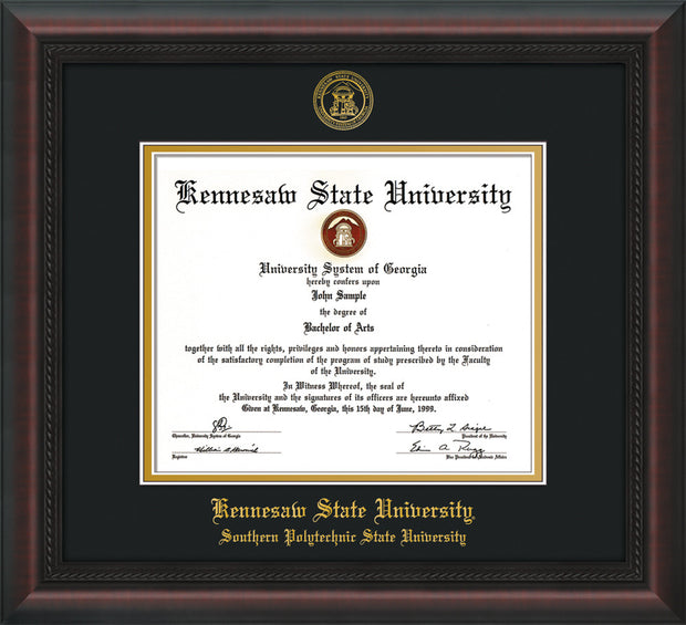 Image of Kennesaw State University Diploma Frame - Southern Polytechnic State Univeristy - Mahogany Braid - with KSU Seal - and SPSU Name - Black on Gold mat