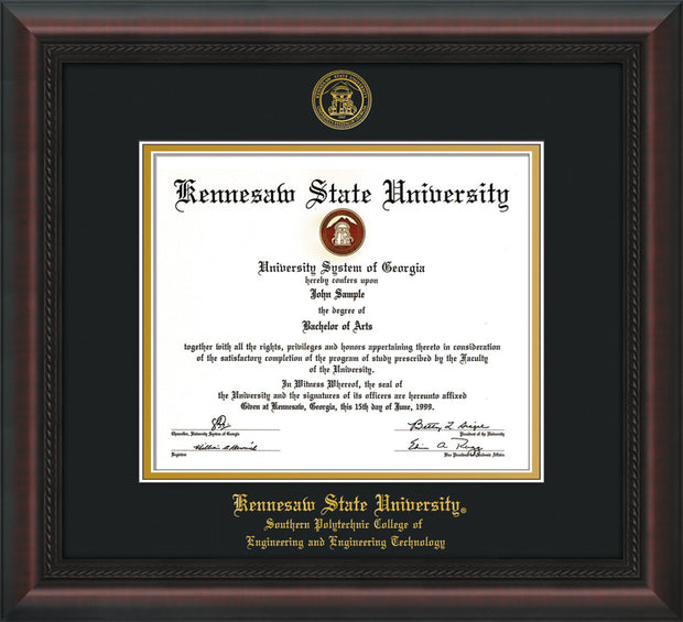 Image of Kennesaw State University Diploma Frame - Southern Polytechnic College of Engineering - Mahogany Braid - with KSU Seal - and SPC Engineering Name - Black on Gold mat
