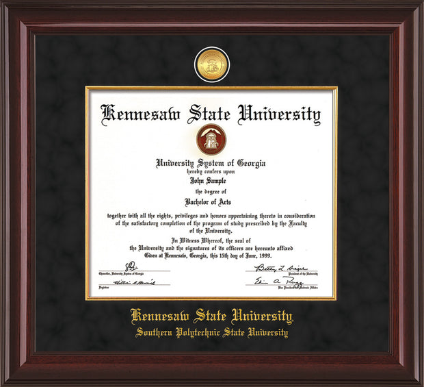 Image of Kennesaw State University Diploma Frame - Southern Polytechnic State University - Mahogany Lacquer - w/KSU Gold Medallion & Fillet - w/SPSU Name - Black Suede mat