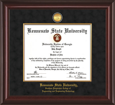 Image of Kennesaw State University Diploma Frame - Southern Polytechnic College Engineering - Mahogany Lacquer - w/KSU Gold Medallion & Fillet - w/SPC Engineering Name - Black Suede mat