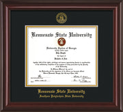 Image of Kennesaw State University Diploma Frame - Southern Polytechnic State Univeristy - Mahogany Lacquer- with KSU Seal - and SPSU Name - Black on Gold mat