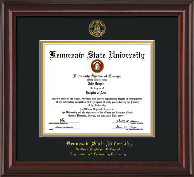 Image of Kennesaw State University Diploma Frame - Southern Polytechnic College of Engineering - Mahogany Lacquer- with KSU Seal - and SPC Engineering Name - Black on Gold mat