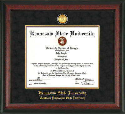 Image of Kennesaw State University Diploma Frame - Southern Polytechnic State University - Rosewood - w/KSU Gold Medallion & Fillet - w/SPSU Name - Black Suede mat
