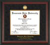 Image of Kennesaw State University Diploma Frame - Southern Polytechnic College Engineering - Rosewood - w/KSU Gold Medallion & Fillet - w/SPC Engineering Name - Black Suede mat