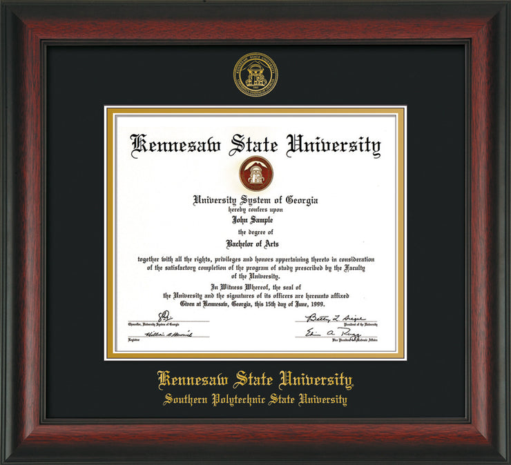 Image of Kennesaw State University Diploma Frame - Southern Polytechnic State Univeristy - Rosewood - with KSU Seal - and SPSU Name - Black on Gold mat