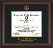 Image of Kennesaw State University Diploma Frame - Southern Polytechnic College of Engineering - Rosewood - with KSU Seal - and SPC Engineering Name - Black on Gold mat