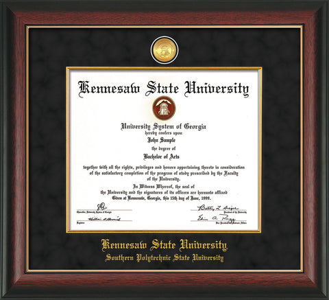 Image of Kennesaw State University Diploma Frame - Southern Polytechnic State University - Rosewood w/Gold Lip - w/KSU Gold Medallion & Fillet - w/SPSU Name - Black Suede mat