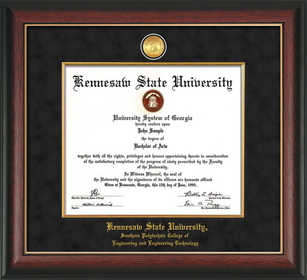 Image of Kennesaw State University Diploma Frame - Southern Polytechnic College Engineering - Rosewood w/Gold Lip - w/KSU Gold Medallion & Fillet - w/SPC Engineering Name - Black Suede mat