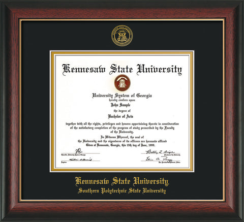 Image of Kennesaw State University Diploma Frame - Southern Polytechnic State Univeristy - Rosewood w/Gold Lip - with KSU Seal - and SPSU Name - Black on Gold mat