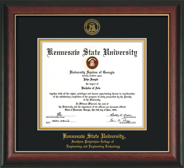 Image of Kennesaw State University Diploma Frame - Southern Polytechnic College of Engineering - Rosewood w/Gold Lip - with KSU Seal - and SPC Engineering Name - Black on Gold mat