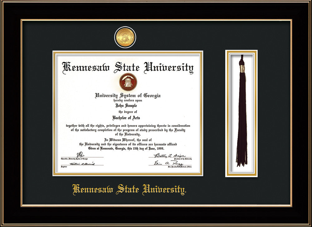 KSU Diploma Frame - Cherry Reverse - Medallion - Tassel - Black on ...