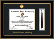 Image of Kennesaw State University Diploma Frame - Black Lacquer - w/24k Gold-Plated Medallion & KSU Name Embossing - Tassel Holder - Black on Gold mats