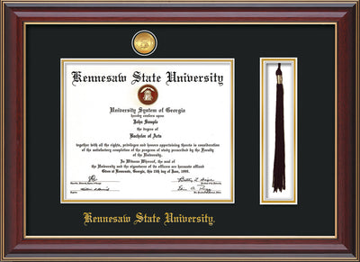 Image of Kennesaw State University Diploma Frame - Cherry Lacquer - w/24k Gold-Plated Medallion & KSU Name Embossing - Tassel Holder - Black on Gold mats