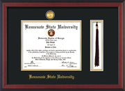 Image of Kennesaw State University Diploma Frame - Cherry Reverse - w/24k Gold-Plated Medallion & KSU Name Embossing - Tassel Holder - Black on Gold mats