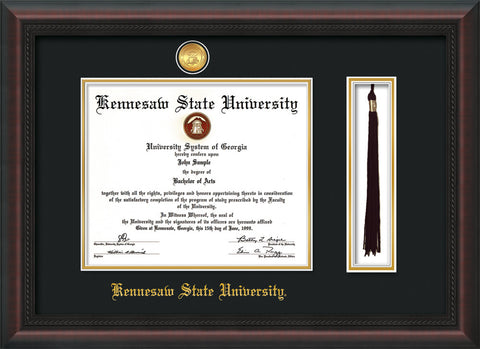 Image of Kennesaw State University Diploma Frame - Mahogany Braid - w/24k Gold-Plated Medallion & KSU Name Embossing - Tassel Holder - Black on Gold mats