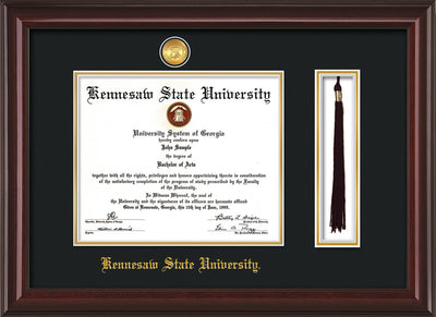 Image of Kennesaw State University Diploma Frame - Mahogany Lacquer - w/24k Gold-Plated Medallion & KSU Name Embossing - Tassel Holder - Black on Gold mats