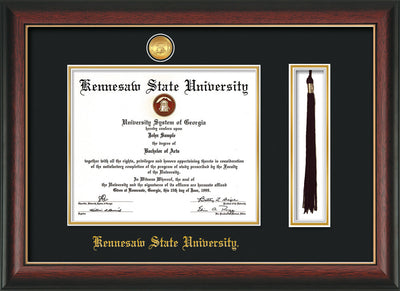 Image of Kennesaw State University Diploma Frame - Rosewood w/Gold Lip - w/24k Gold-Plated Medallion & KSU Name Embossing - Tassel Holder - Black on Gold mats
